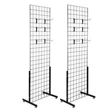 2pcs Display Grid Rack Metal Panel Wall Stand Retail Store Art Organizer W/Hook