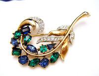 Crown Trifari Jeweled Symphony Rhinestone Feather Brooch Patented 160961