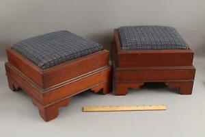 Pr Antique 19thC Victorian Mahogany Footstools Stools Slip-Seat .. NO RESERVE