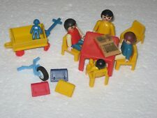 Lot Of 17+ Pcs Vintage Playmobil Figures Children Table Chairs Backpacks Wagon
