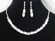 Round And Marquise Silver Clear Crystal Necklace & Drop Earrings Wedding Set