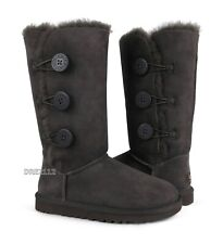 UGG Australia Bailey Button Triplet Chocolate Fur Boots Womens Size 6 *NIB*