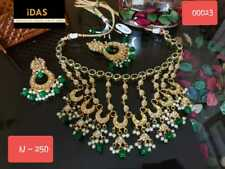Indian Traditional Gold Plated Kundan Choker Necklace Earrings Jewelry Set