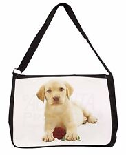 Yellow Labrador Puppy with Rose Large Black Laptop Shoulder Bag School, AD-L4RSB