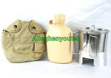 Military 5 Pc SET - VGC 1 Quart TAN Cover w/ NEW TAN Canteen, Cup, Lid and Stove