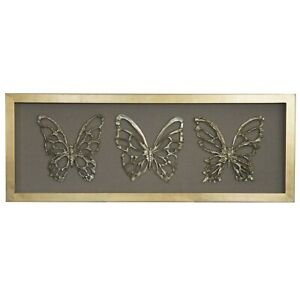 Wood Carving Butterfly Trio Shadow Box Wall Décor