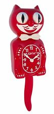 "Classic Vintage Retro Kit-Cat Klock 15 1/2"" Scarlet Red Clock Rolling Eyes Tail"