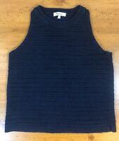 Madewell Womens Camila Crochet Knit Tank Top Navy Blue Sleeveless Cotton S EUC