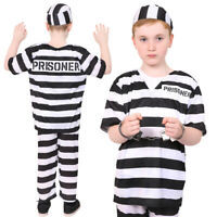 CHILDS PRISONER COSTUMES BLACK & WHITE BOOK DAY CONVICT INMATE KIDS FANCY DRESS