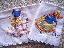 2 Vintage Sun Bonnet SUE Applique/Emroidery Large Tea Towels W/Feed Sack Fabric
