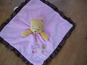 PINK BROWN POLKA DOT WINNIE THE POOH DISNEY CUTE CUDDLY COMFORTER SOFT TOY BABY