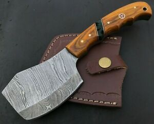 Handmade Axe Damascus Steel Viking Axe-Camping-Outdoors-Leather Sheath-MD147