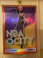 "2019-20 NBA Hoops Premium Stock LeBRON JAMES SSP RED PRIZM ""NBA CITY""🏀🔥🐐RARE"
