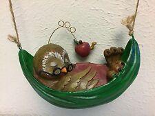 Vintage Wood Carved Owl Falling Sleep Reading Book Hammock Apple Worm Figurine