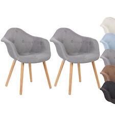 Esszimmerstühle 2 x Design Küchenstuhl Holzgestell Sitzfläche aus Leinen #623