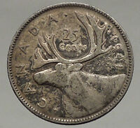 1941 CANADA King George VI of Britain Domains Silver 25 Cent Coin CARIBOU i56788