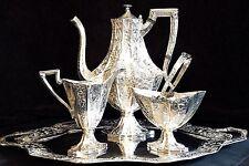 Fine Barbour Bros. Victorian Era Heavy Repousse Silver Plate Tea/Coffee  Service
