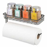 mDesign Metal Wall Mount Paper Towel Holder & Spice Rack Shelf - Dark Gray