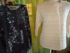 femme lot gilet laine écrue tricoté main  et haut noir ,fantaisie  T