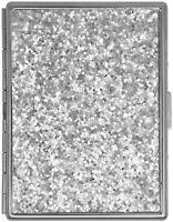 Silver Glitter Compact (9 Kings) Metal-Plated Cigarette Case & Stash Box