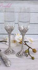 Swarovski Crystal Wedding Toast Set, Champagne Glasses, Wedding Toasting Flutes