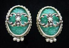 Vintage 1968 JUDY LEE Jade Green Carved Glass 'SPANISH MOSS' Earrings,fjt