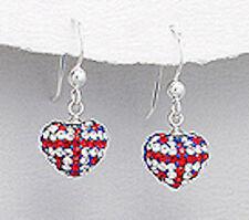 Sterling Silver 24mm Crystal British Flag Heart Hook Dangle Earrings 2.3g