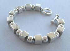 "0.925 Sterling Silver 8 mm Blocks and Spheres Bracelet 7.9"" (20cm) L. 1.69 oz"