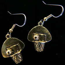 Basketball Goal Earrings 24 karat Gold Plate Sports