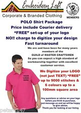 40 PERSONALISED EMBROIDERED POLO SHIRTS with YOUR LOGO or TEXT DESIGN