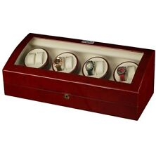 Watches with 9 Watch Storage Spaces Watch Winder, Burgundy Wood Finish for 8