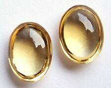 Paar  Citrin  Linsen Cabochon oval  7,73 Carat 12 x 9 x 5 mm  hellgelb