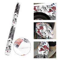 50*150cm Car Auto Cartoon Skull Graffiti Bomb Vinyl Sticker Wrap Roll Decal Film