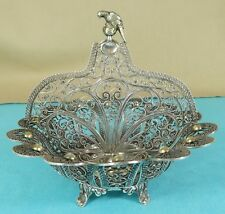 RARE Maltais Sterling Silver filigrane 2 Section Dish Stand perroquet oiseau ca 1870