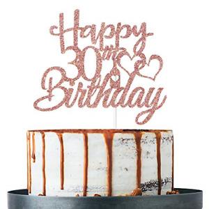 Rose Gold Glitter Happy 30th Birthday Cake Topper, 30th Birthday Decoration Old