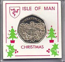 IOM Isle of Man MANX 1996 50P CHRISTMAS CHIOR RAGAZZI gettare SNOWBALLS UNC con montante