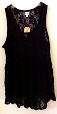 Womens MEDIUM Top/Shirt Mudd Black Lacy Sleeveless See-Thru Nylon/Cotton/Spa NWT