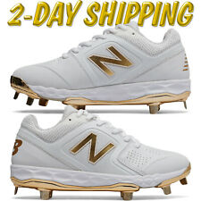 SMVELOX1 New Balance Women's Softball Metal Cleats White/Gold *2-DAY SHIPPING*
