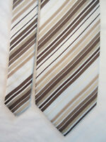 GEORGE PADDED BROWN WHITE STRIPED 3.5 INCH POLYESTER NECK TIE
