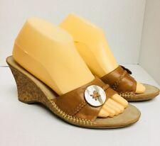 NEW Liz Claiborne Flex Tourista Braided Brown Leather Wedge Cork Heel 9.5 Braid