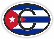C Cuba Código De País Bandera Pegatina Parachoques Oval con Calcomanía Auto Moto Tablet