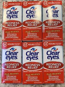 6 Pack Red Clear Eyes Redness Relief Eye Drops EX:03/22 IN STOCK NOW! FREE SHIP!