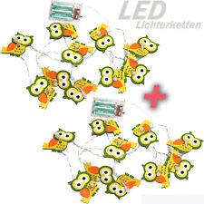 2 x LED LICHTERKETTE FILZ EULE Herbst DEKO Batterie Timer 20 Lichter ü5ü743+