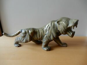 Vtg. Patinated, Cast Brass Statue of Roaring Tiger with Textured Finish, 40 cm L