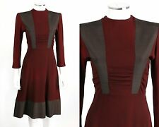 VINTAGE COUTURE c.1940's WWII BURGUNDY & BROWN RAYON CREPE AFTERNOON DAY DRESS S