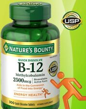 Nature's Bounty Sublingual Vitamin B-12 2500mcg 300 Quick Tablets Cherry Flavor