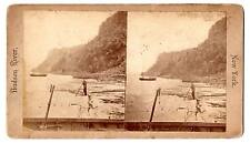 Vintage Stereoiew Hudson River New York boat foreground man with pole list