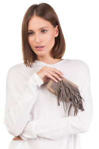 RRP €130 MANIFATTURE CAMPANE Leather Wallet Mini Pouch Bag Fringe Made in Italy