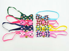 Adjustable Pet Dog Cat Bow Tie Checker/Heart Puppy Necktie Neck Collar With bell