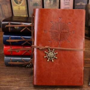 Vintage Diary Notebook from Faux Leather B5 A5 A6 Size Spiral Journal Book